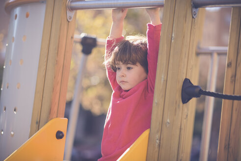 Portrait of pensive little girl on   playground - JSMF00205