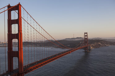 Elevated view of Golden Gate bridge over San Francisco Bay, San Francisco, California, USA - CUF16143
