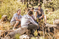 Four male hikers sitting chatting in forest, Deer Park, Cape Town, South Africa - CUF17106