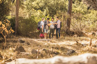 Four male hikers reading and pointing at map in forest, Deer Park, Cape Town, South Africa - CUF17115