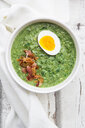 Spinach soup with egg and bacon - LVF06999