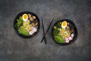 Ramen soup with egg, sugar peas, broccoli, noodles, shitake mushroom and red radish - LVF07011
