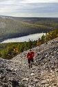 Trail runner ascending steep hill, Kesankitunturi, Lapland, Finland - CUF20125