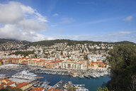 France, Provence-Alpes-Cote d'Azur, Nice, Cityscape and Port Lympia from above - ABOF00375