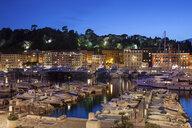 France, Provence-Alpes-Cote d'Azur, Nice, Port Lympia at blue hour - ABOF00378