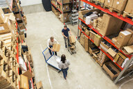 High angle view of coworkers working together in distribution warehouse - MASF07987
