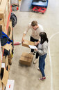 High angle view of colleagues discussing over cardboard box in industry - MASF07990