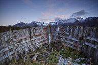 Argentina, Tierra del Fuego, Ushuaia, ship wrack at sunrise - CVF00656
