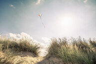 Kite flying in mid air above dunes on Norfolk coast, UK - CUF21923