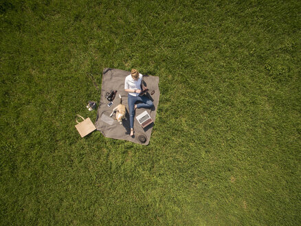 Bird's eye view of woman sitting on blanket on meadow with dog using tablet - ONF01122