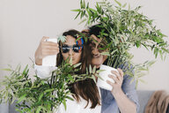 Woman with sunglasses and man with monkey mask taking smartphone selfie - KNSF03916