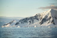 Antarctic, Antarctic Peninsula, snow covered mountains with ice and glacier in the morning - CVF00694