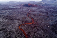 Aerial view of volcano and lava flowing through landscape, Kverkfjöll, Iceland - FSIF03137