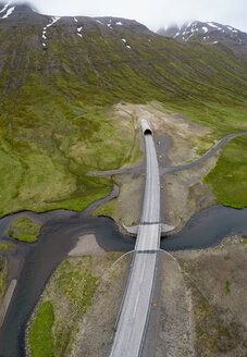 Drone view of road over stream, Iceland - FSIF03140