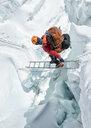 Nepal, Solo Khumbu, Everest, Sagamartha National Park, Mountaineer crossing icefall at Western Cwm - ALRF01236