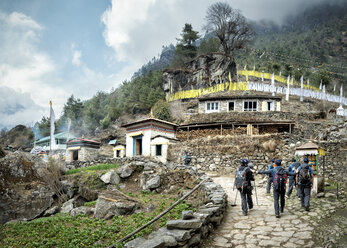 Nepal, Solo Khumbu, Everest, Sagamartha National Park, Group of people visiting National Park - ALRF01245