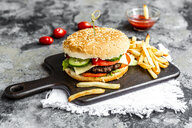 Homemade Hamburger with cheese, french fries, ketchup and tomato - SARF03764