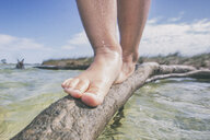 Girl balancing on a branch at beach, low section, Fort Walton Beach, Florida, USA - ISF09364