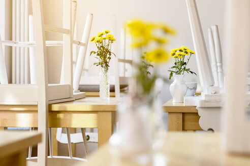 Cafe interior, closed, chairs on tables - CUF25674