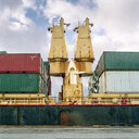 Shipping containers stacked on container ship - CUF25758