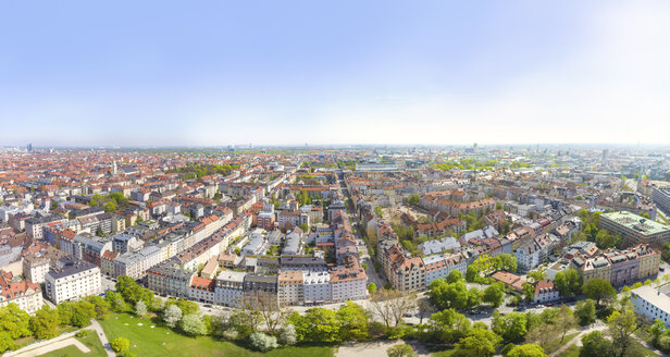 Germany, Bavaria, Munich, Maxvorstadt, Aerial view of Massmannpark, Old town and Schwabing in the background - MMAF00386