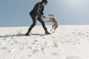 Man playing with dog in winter, having fun in the snow - REAF00274