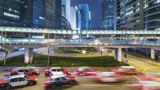 Traffic and elevated walkways, Hong Kong, China - CUF28271