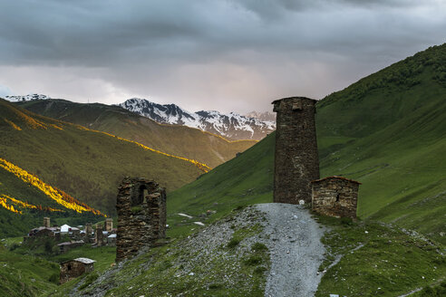 Georgia, Svaneti, Samegrelo-Zemo Svaneti, Ushguli, defence tower in the evening - FPF00174
