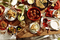 Table selection of meatballs, spanish omelette, salted cod,bread and fruit punch - CUF28528