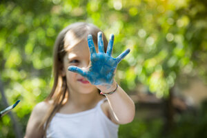Girl's blue painted hand - LVF07081