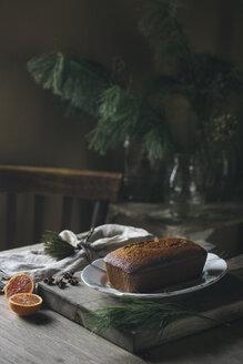Home-baked Christmas cake on plate - ALBF00369