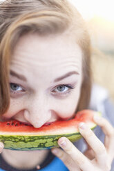 Young woman eating watermelon - CUF29349