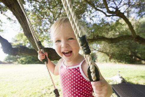 Portrait of female toddler on tree swing - CUF29829