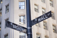Broadway and Wall St., street sign, New York, USA - CUF30264