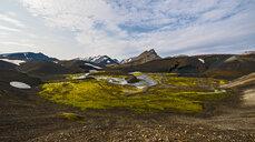 Elevated view of rugged landscape, Icelandic highlands, Iceland - CUF30474