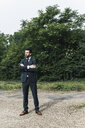 Businessman standing in remote landscape - UUF14077