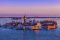 Elevated view of an island in Venetian Lagoon at sunset, Italy - CUF31366