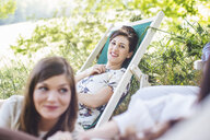 Group of female friends, relaxing outdoors - CUF31483