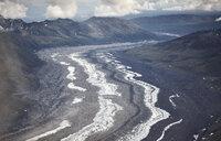 USA, Alaska, Denali National Park, aerial view of glacier tongue - CVF00841