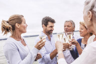 Group of friends raising wine glasses, making toast - CUF31616