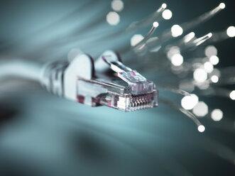 Internet network connector with fibre optics, close-up - CUF32314