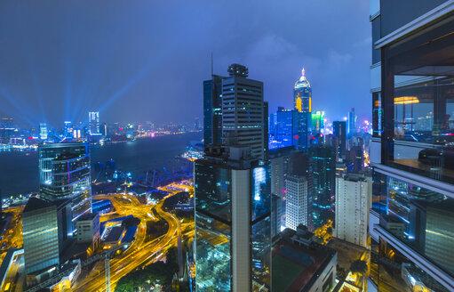 Central Hong Kong financial district and Victoria harbor, Hong Kong, China - ISF10005