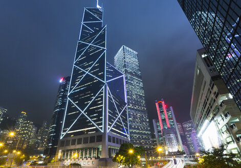 Hong Kong financial district with Bank of China building, Hong Kong, China - ISF10011