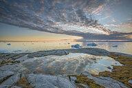Idyllic clouds over remote ocean with icebergs, Kalaallisut, Greenland - CAIF20742