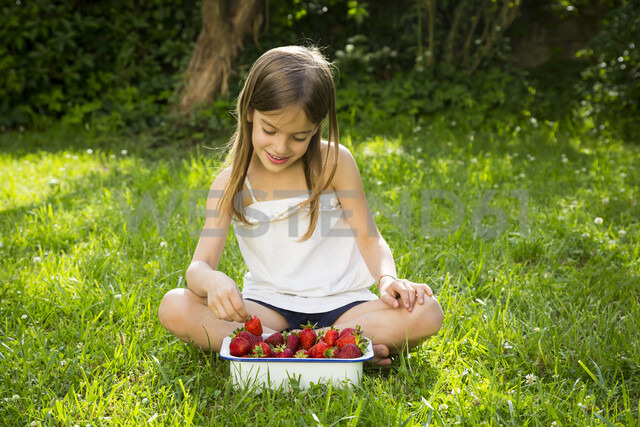 Smiling little girl sitting on meadow with bowl of strawberries - LVF07098