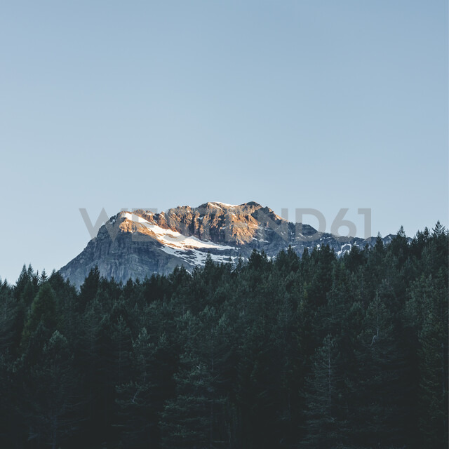 Italy, Lombardy, Chiesa in Valmalenco, mountaintop in the morning light - DWIF00925
