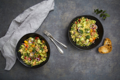 Tabbouleh made of couscous, tomatoes, red onions, cucumber, parsley and mint - LVF07106