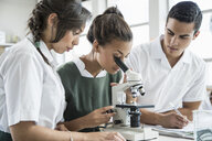 Students using microscope in lab - ISF10943