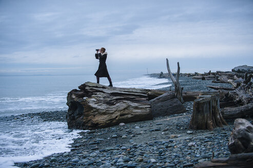 Woman looking through binoculars from large driftwood tree stump on beach - ISF11858