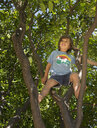 Young boy sitting in tree, low angle view - ISF12158